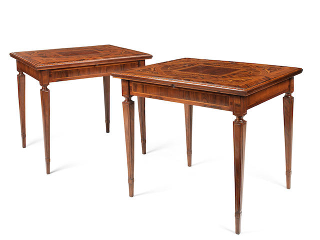 A pair of Lombardy early 19th century Indian walnut, rosewood, tuilipwood, maple, pommele, ebony, calamander boxwood and marquetry card tablesProbably by Giuseppe Maggiolini