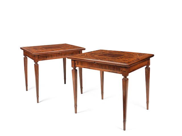 A pair of Lombardy early 19th century Indian walnut, rosewood, tuilipwood, maple, pommele, ebony, calamander boxwood and marquetry card tablesPossibly by Giuseppe Maggiolini