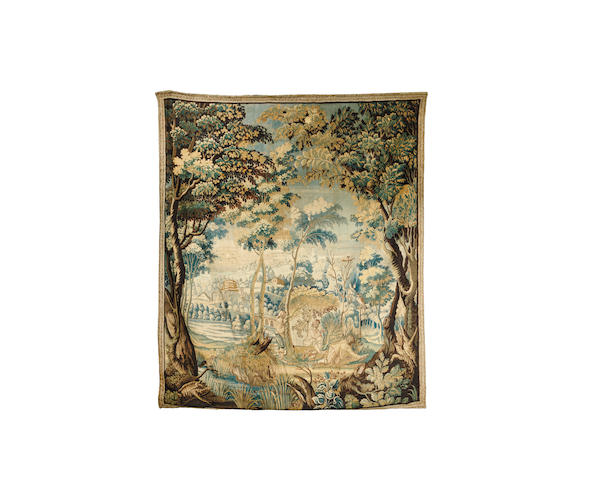 A late 17th/early 18th century Flemish Verdure tapestry 266cm x 233cm
