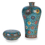 A cloisonné vase, meiping and a box and cover