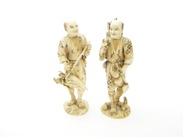 Two large sectional ivory figures 19th Century