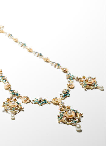 A pearl, enamel and diamond necklace,