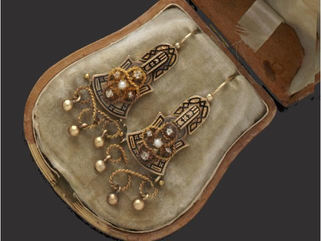 A pair of 19th century Russian enamel, diamond and pearl earpendants