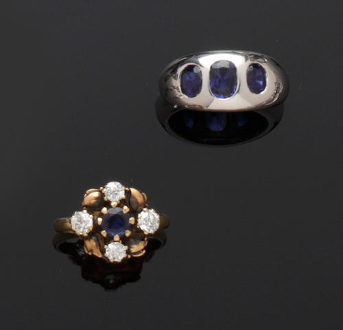 A sapphire and diamond ring and a sapphire three stone ring (2)