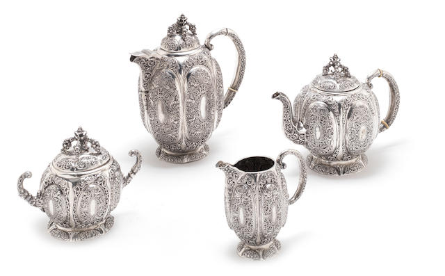 A 19th century German silver four-piece tea service marks of Schleissner & Söhne, Hanau (4)
