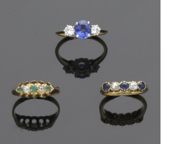 Three diamond and gem set rings (3)