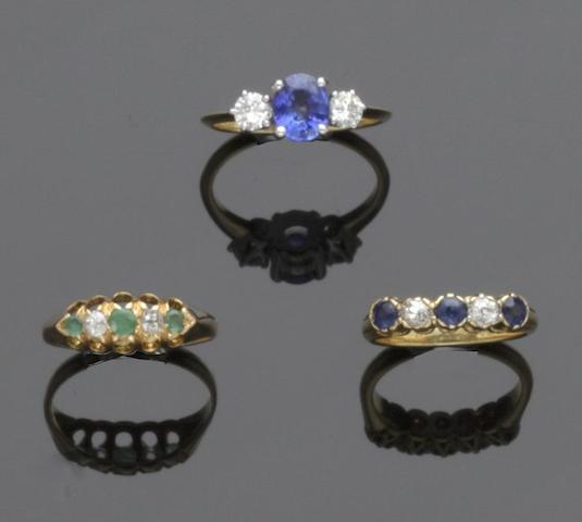 Three diamond and gem set rings (3)