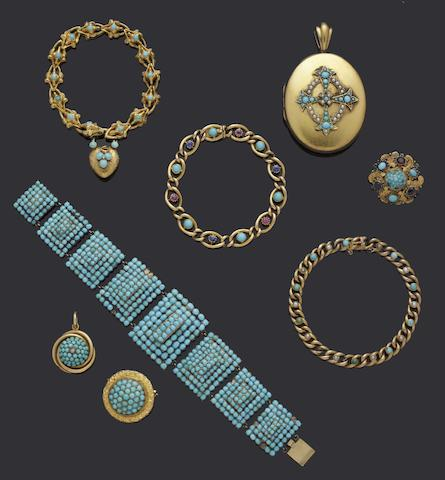 A collection of Victorian and later turquoise set jewellery (8)