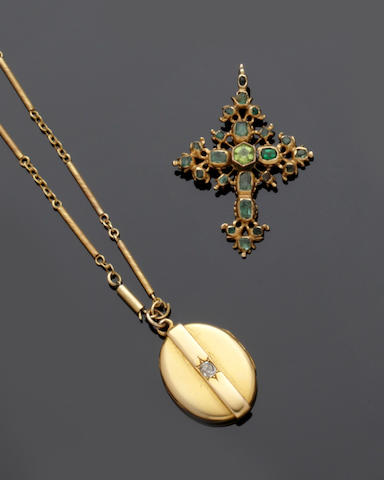 A late 19th/early 20th century Iberian gem set cross pendant and a collection of jewellery (10)