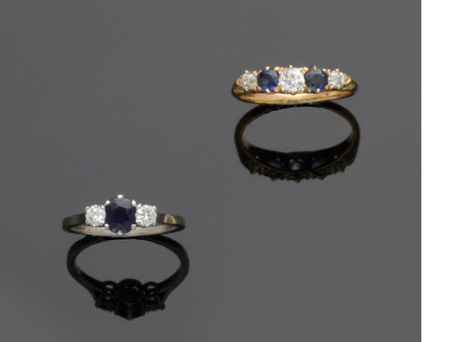 Two sapphire and diamond set rings (2)
