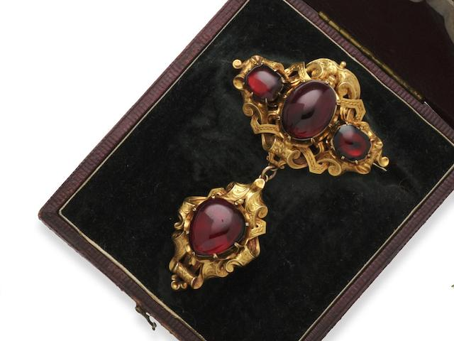 A Victorian garnet set brooch