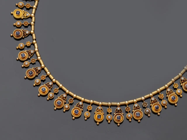 A 19th century gold Archeological Revival fringe necklace