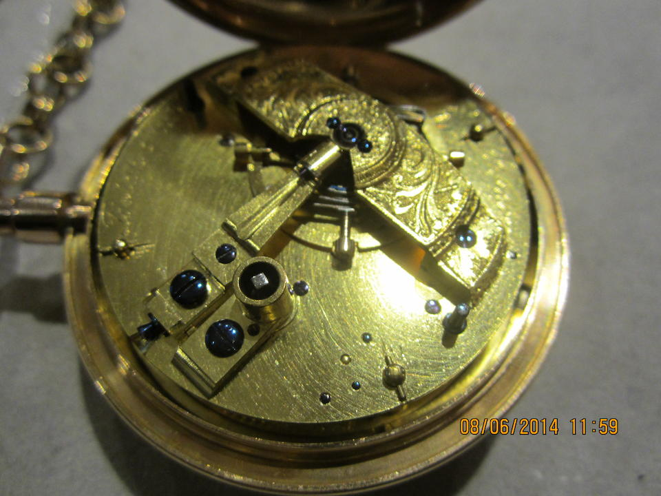 Josiah Emery, Charing Cross, London. A very fine and historically important open face pocket watch originally owned by George IV as Prince of Wales No.1057, Circa 1785, Case with London Hallmark for 1800