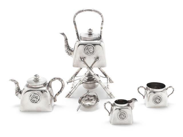 An unusual late 19th / early 20th century Chinese export silver four-piece silver breakfast tea service by Wang Hing & Co, Shanghai/Canton, circa 1900 (5)