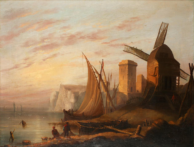 English School, late 19th Century Coastal scene with windmill, near Dover