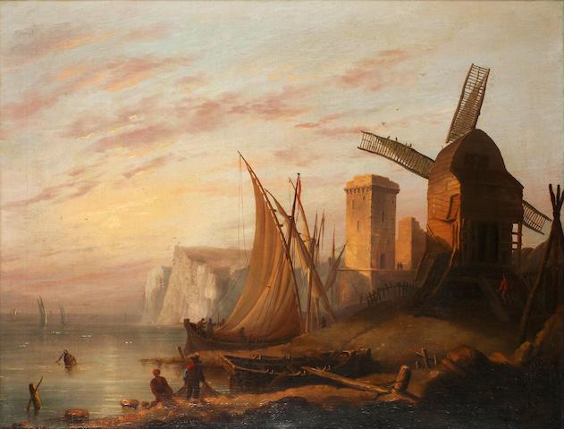 English School, late 19th Century Coastal scene with windmill, near Dover