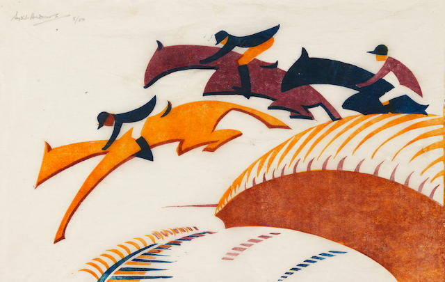 Sybil Andrews CPE (British/Canadian, 1898-1992) Steeplechasing  Linocut printed in Chinese orange, alizarin purple madder and Prussian blue, 1930, on buff oriental laid tissue, signed and numbered 5/50 in pencil, additionally titled in pencil in the lower margin, with margins, 175 x 272mm (6 7/8 x 10 3/4in)(B)
