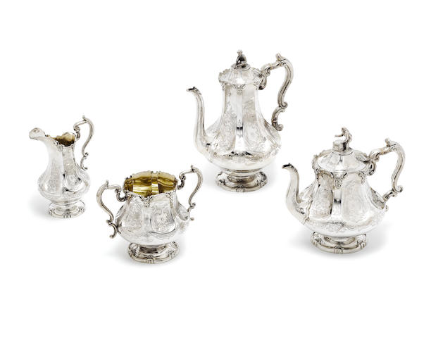 A Victorian silver four-piece tea and coffee service by John & Joseph Angell, London 1846  (4)