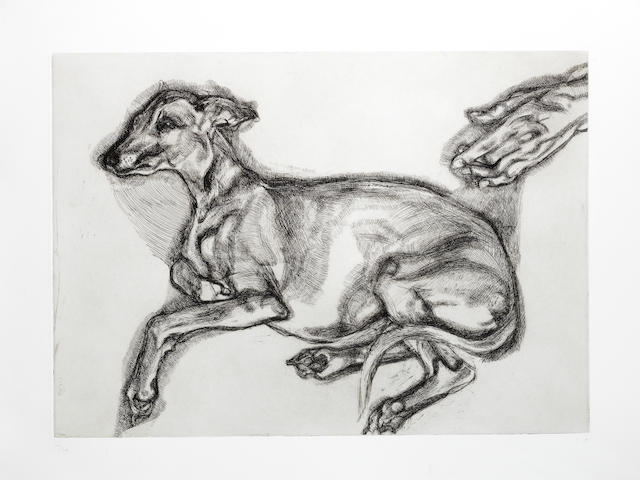 Lucian Freud (British, 1922-2011) Pluto Aged Twelve Etching printed with tone, 2000, initialled and numbered 12/46 in pencil, printed by Marc Balakjian at Studio Prints, London, published by Matthew Marks Gallery, New York, with full margins, 432 x 596mm (17 x 23 1/2in)(PL)