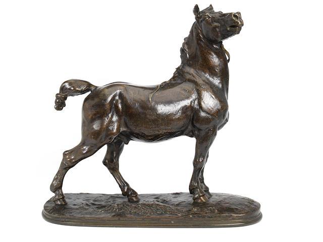 Pierre Jules Mene (French, 1810-1879): A bronze model of a Britanny Stallion Cheval Breton