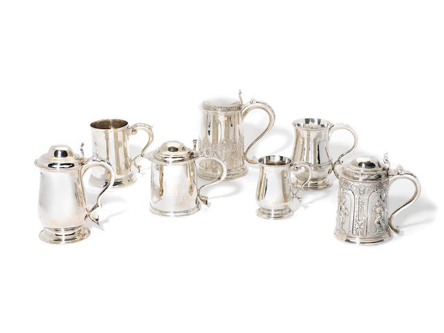 A group of six Antique silver mugs and tankards (6)