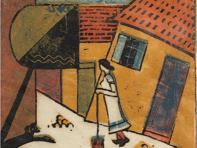 Eveline W. Syme (Australian, 1881-1961) Belgian Street Linocut printed in yellow ochre, red, light blue and black, circa 1931, an early richly inked impression, on buff oriental laid tissue, signed, titled and numbered 3/25 in pencil, with margins, 237 x 196mm (9 3/8 x 7 3/4in)(B)