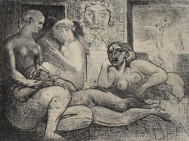 Pablo Picasso (Spanish, 1881-1973) Quatre femmes nues et tête sculptée, Plate 82 from La suite Vollard Etching, 1934, the final fifth state, on Montval watermarked Vollard, signed in pencil, from the edition of 260, published by A. Vollard, Paris, with full margins, 223 x 316mm (8 3/4 x 12 3/8in)(PL)