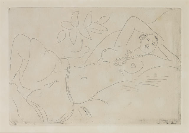 Henri Matisse (French, 1869-1954) Odalisque couchée Etching printed with tone, 1923, on Arches, one of several trial proofs, aside from the six signed proofs, (there was no edition published), with full margins, 200 x 300mm (7 7/8 x 11 7/8in)(PL)