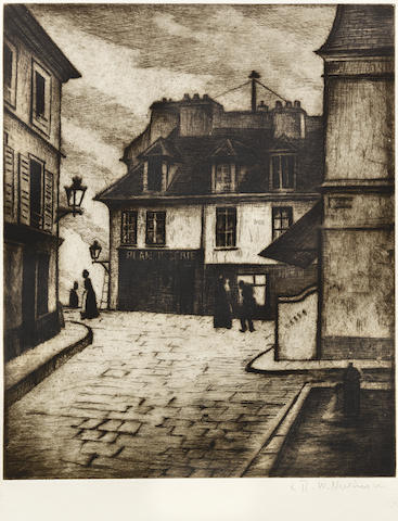 Christopher Richard Wynne Nevinson (British, 1889-1946) La Butte, Montmartre Etching printed with tone, circa 1922, on watermarked F.J. Head & Co. hand-made laid, signed in pencil, from an edition not exceeding 75, with margins, 235 x 193mm (9 1/4 x 7 5/8in)(PL)