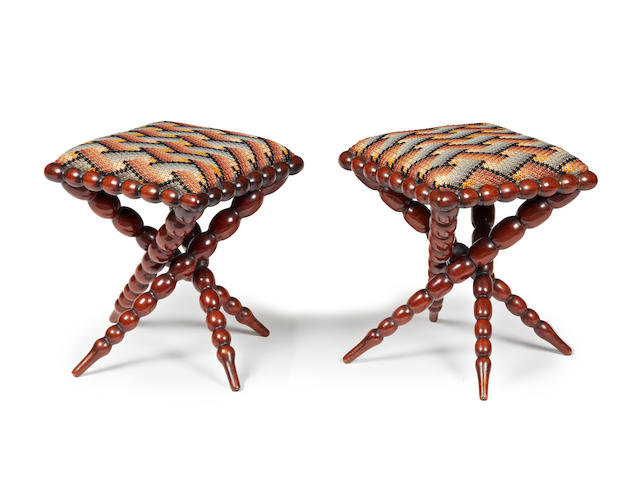 An unusual pair of Victorian rosewood stools