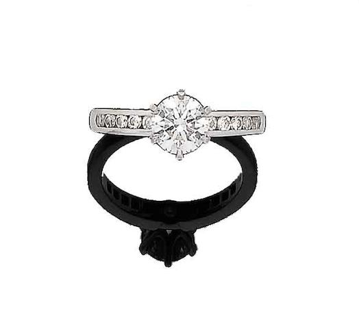 A diamond single-stone ring, by Tiffany & Co.