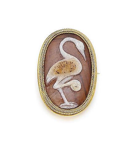 A sardonyx cameo brooch, by Castellani, cameo possibly ancient