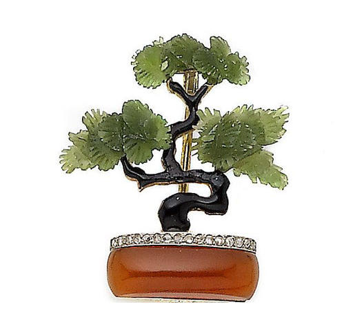 An enamel and gem-set 'bonsai' tree brooch,