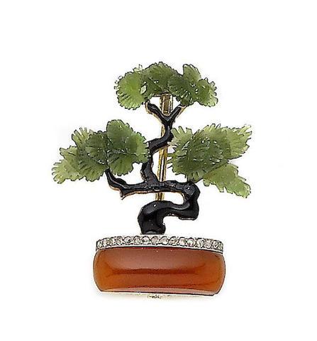 An enamel and gem-set 'bonsai' tree brooch,