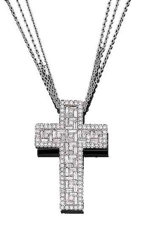 A diamond cross pendant necklace