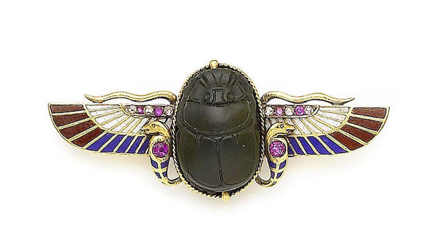 A late 19th century Egyptian revival scarab brooch
