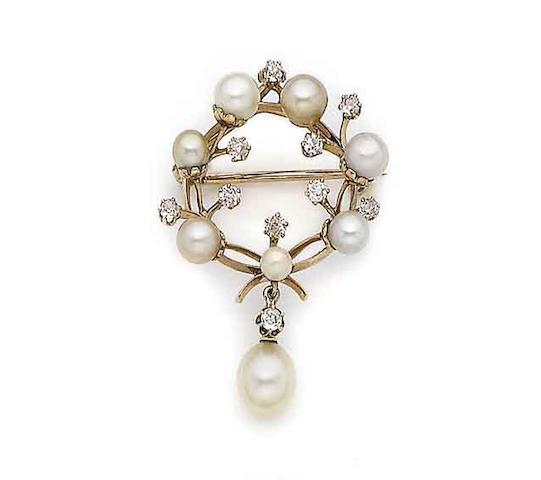 A pearl and diamond brooch/pendant