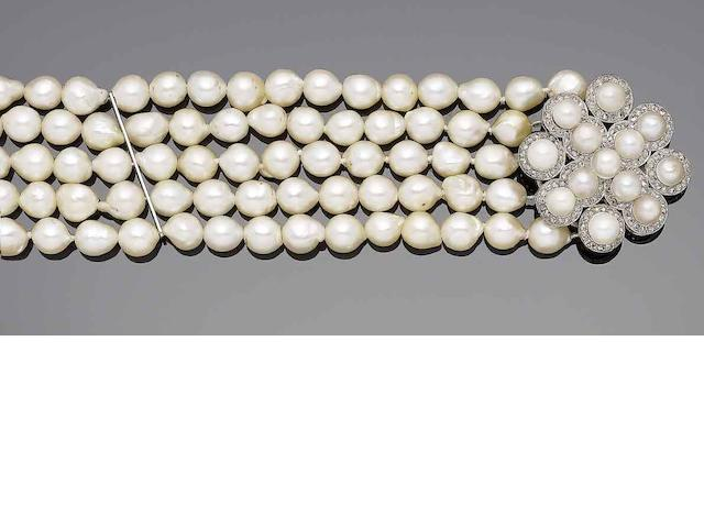 A multi-strand cultured pearl choker and a cultured pearl and diamond-set clasp
