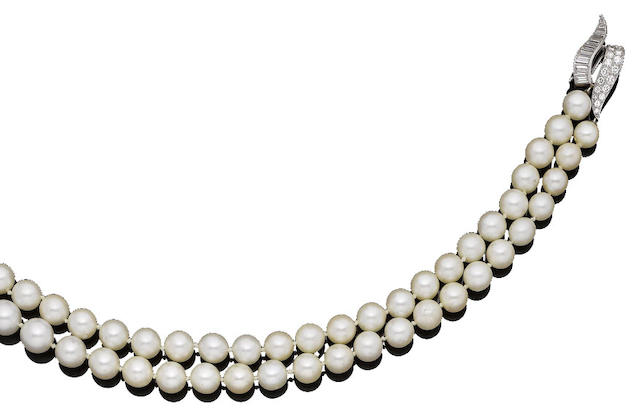 A double-strand cultured pearl necklace and diamond clasp, by Vourakis