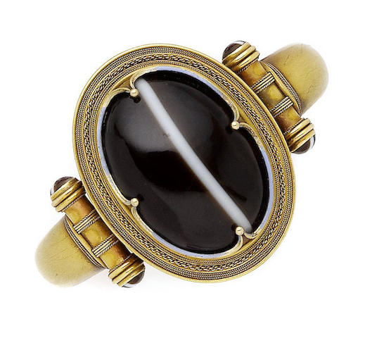 A gold, onyx and enamel hinged bangle, by Robert Phillips,