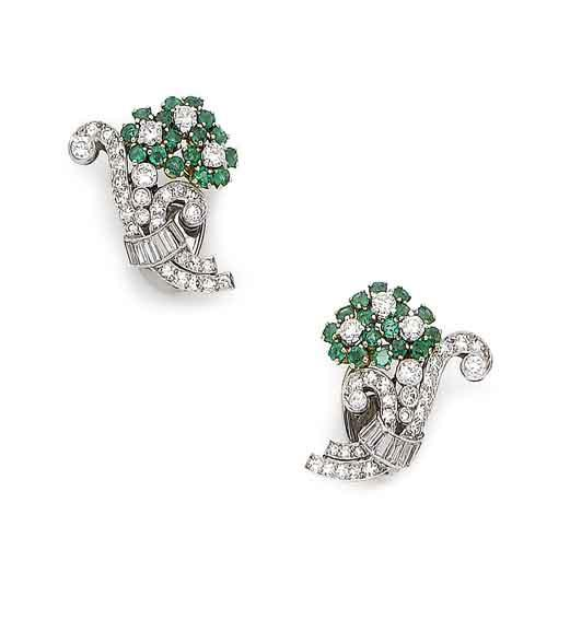A pair of emerald and diamond flower earclips,