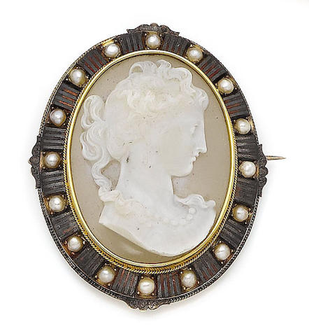 A 19th century pearl and hardstone cameo brooch