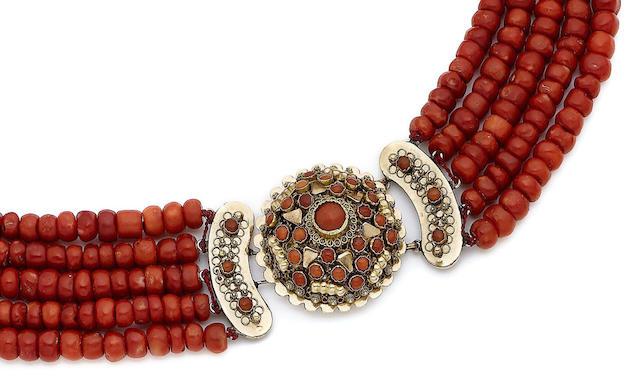 A multi-strand coral necklace