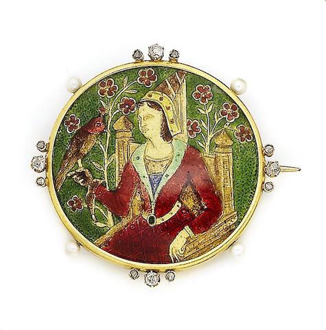 An enamel, seed pearl and diamond-set brooch,