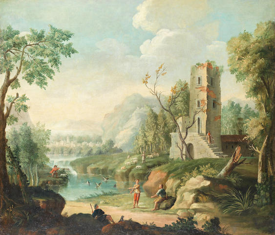 North Italian School, 18th Century Huntsmen shooting duck on a river before a village