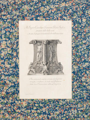 Giovanni Battista Piranesi (Italian, 1720-1778) A pair of 18th century architectural engraings: 'Al Signor Cavaliere Giovanni Rous Inglese',an with another by the same hand, book plates from a large volume, both within decorative marbled paper mounts, framed and glazed, 67cm x 51cm, overall, 2