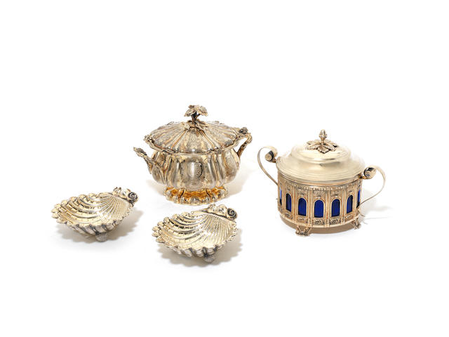 A mid-19th century Italian silver-gilt two-handled sugar bowl and cover maker's mark absent, Milan 1812-72 (4)