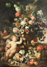 Franz Werner von Tamm, called Dapper (Hamburg 1658-1724 Vienna) Roses, carnations, tulips and other flowers in a carved stone vase with putti on a stone ledge with split melons, grapes, peaches and other fruit
