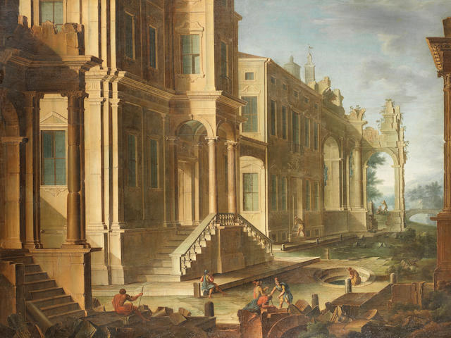 Attributed to Vicente Giner (active Rome, circa 1660-1670) An architectural capriccio with figures before palace steps; and An architectural capriccio with soldiers amongst ruins in the foreground  (2)