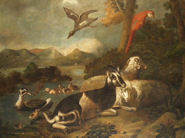 Follower of Alessandro Gori (active Italy, 17th Century) A goat, sheep, ducks and a scarlet macaw in a river landscape; and A stag, hawk and ducks in a river landscape with mountains beyond (2)
